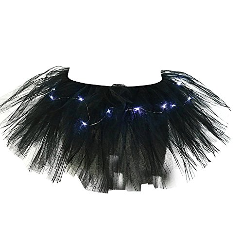 n Light up Stage LED Dance Rave Mini Solid Tulle Ball Gown Tutu Skirt ()