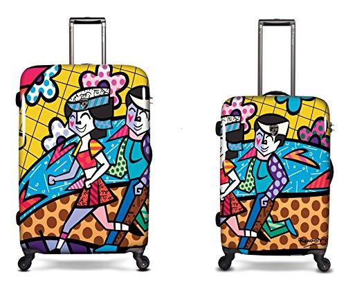 SCONTO SPECIALE - 800 € Sconto - PREMIUM DESIGNER Valigia Rigida set 2 pezzi - Heys Artisti Britto Spring Love Trolley con 4 Ruote Media + Trolley con 4 Ruote Grande