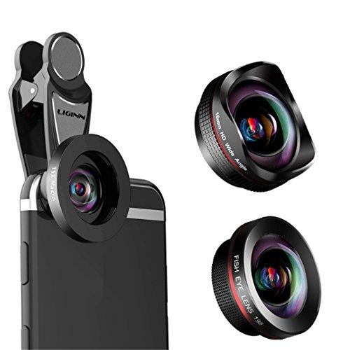 Obiettivo fisheye 198 °, obiettivo super grandangolare 0,6x, obiettivo super macro 15x, kit obiettivo fotocamera universale professionale hd per iphone 5/6 / 6plus / 7 / 6splus / 6s, samsung s8 + / s8 e altri cellulari