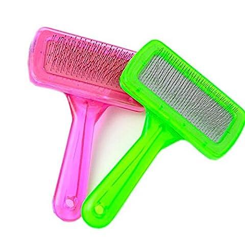 ZPP-Fournitures pour animaux domestiques nettoyer candy Couleur Cristal clair chien de compagnie peigne beauté broches tedu peigne Brosse de chien de petite taille