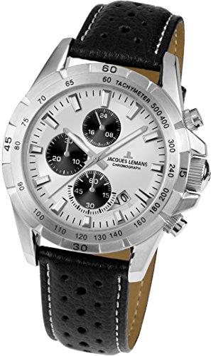 Jacques Lemans Unisex Analog Quarz Uhr mit Leder Armband 1-1826B