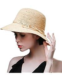 SIGGI Mujer Floppy paja sombreros de sol Verano accesorios de playa ala ancha hecha a mano