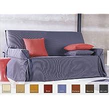 Eysa - Funda de sofá con lazos plus, medidas 2 plazas, color marrón