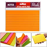#6: 7Trees Self-Stick Sticky Note Pad, Ruled, Neon Colors, 4 X 6 Inch, 100 Sheets. 20 Sheets/Color