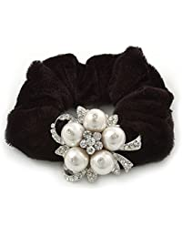Rhodium Plated Crystal Simulated Pearl 'Flower' Pony Tail Black Hair Scrunchie - White/ Clear