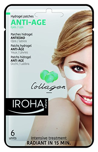 Iroha Nature Parches Hidrogel para Ojos, Antiedad con colágeno, 6 unidades.