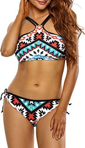 Damen Bikini Bustier Bademode Badeanzug Neckholder Necktop Slip Top Cut Outs Paisley Bunt binden 42/44 (Etikett L) (Verstellbare Neckholder-bikini-top)