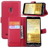 Asus Zenfone 5 Funda, Dokpav® Ultra Slim Delgado Flip PU Cuero Cover Case para Asus Zenfone 5 con Interiores Slip Compartimentos para Tarjetas - Rojo