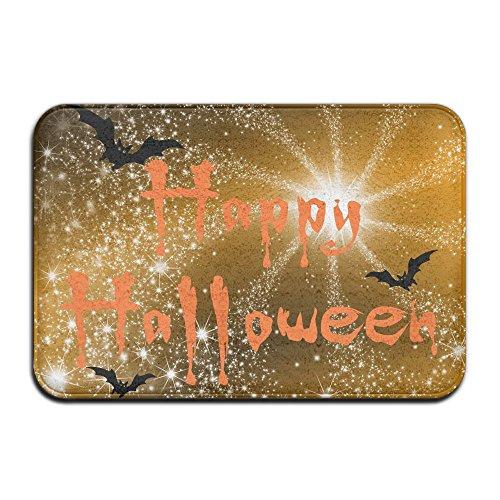 Schwarz Fledermäuse Happy Halloween Cool Fußmatte ENTRANCE Mat Fußmatte/Front Tür/Bad-Teppich Matten Gummi rutschfeste, Mikrofaser Gummi, weiß, Einheitsgröße (Apple-halloween-kostüme)
