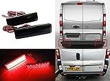 2x Vivaro Movano Master Trafic Primastar Schwarz Geräucherte Linse Stoßstange Reflektor LED-Endanschlag Bremslicht