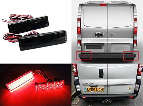 2x Vivaro Movano Master Trafic Primastar Schwarz Geräucherte Linse Stoßstange Reflektor LED-Endanschlag Bremslicht (Master-stoßstange)