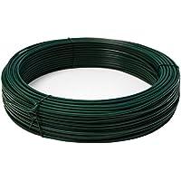 NIEDERBERG METALL rollo de Alambre recubierto de PVC 70 m de largo metal protegido por una envoltura de plástico verde   Diámetro Ø3,8mm   Verde