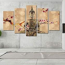 XMDNYE Modulare Bild Große Leinwand Rahmen 5 Panel Kirschpflaume Buddha Gedruckt Malerei Für Schlafzimmer Wohnzimmer Home Wall Art Decor