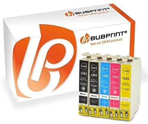 Bubprint 5x Druckerpatronen kompatibel für Epson T1291 T 1291 T1292 T 1292 T1293 T 1293 T1294 T 1294 Stylus SX435w SX 435 w schwarz cyan gelb magenta