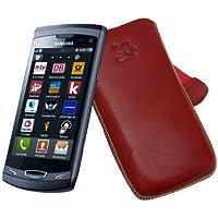 Original Suncase Echt Ledertasche für Samsung Wave 2 GT S8530 in rot