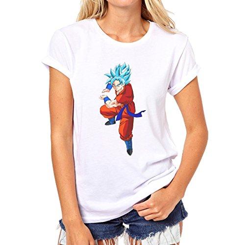 Dragon Ball Super Goku Kamehameha Ready SSGSS Damen T-Shirt Weiß