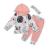 BeautyTop Baby Body 0-24 Monate,Spielanzug Baby Overall Herbst Jungen und Mädchen Blumen gestreiften Kapuzenpulli Anzug New Born Kleidung Set Baby Druckset für Kinder (6Monate)