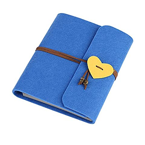 Rechel Scrapbook, Vintage Photo Album,60 Pages Hand Made DIY Album with Heart-shaped Pendant with Belt, Great Gift for wedding, birthday, Anniversary (L, Blue)