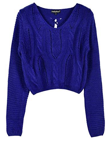 PrettyGuide Damen Strickpullover Langarm Öse Zopfmuster Schnüren Ernte oben Pullover M Blau (Cropped Pullover Blau)