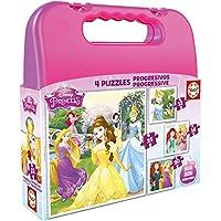 Puzzles Educa - Maleta con Puzzles progresivos, diseño Princesas Disney, 12-16-20-25 Piezas (16508) - Peluches y Puzzles precios baratos