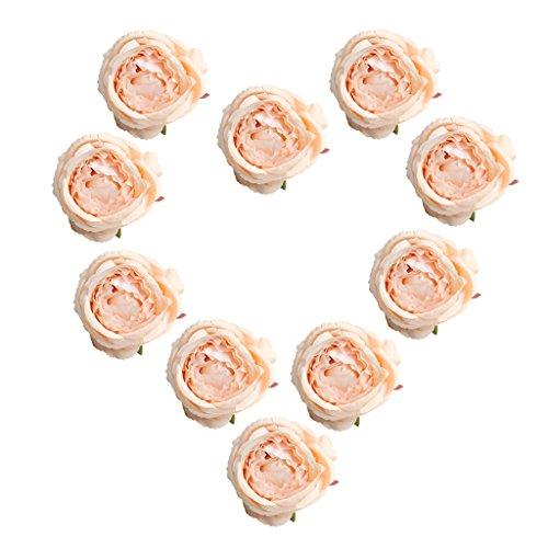 10 Stück Seide Künstliche Rose Blumen Braut Clips Hochzeit Dekoration Blumenköpfe - Rosa Champagner