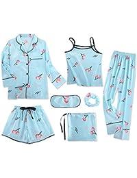Meaeo Juego De Pijama De Mujer De Seda De 7 Piezas Juego De Casa De Verano