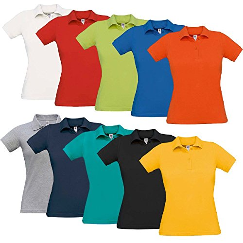 B&C Poloshirt Damen, 2er Knopfleiste, figurbetont, Baumwolle Gelb