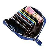 Mcvilla Leder Scheckkartenetui Kreditkartenetui Visitenkartenetui Geldbeutel Minibörse RFID-Blocking Damen und Herren (Blau)