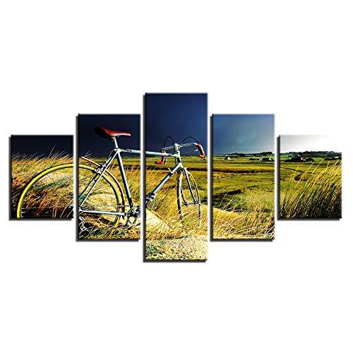 QJHXD Wandbild 5 Teilig Leinwandbilder modern Mountainbike Wandbilder Bilder Kunstdruck Wohnzimmer Schlafzimmer Wanddekoration Sofa Hintergrund 200x100cm(5pcs)