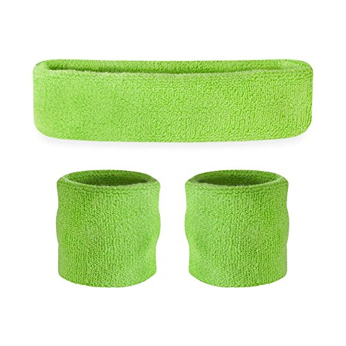 Set parasudore bambini (1 fascia/2 polsini)., Neon Green