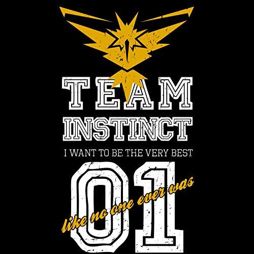 Fashionalarm Herren T-Shirt - Team Instinct I Want To Be The Very Best   Fan Shirt Team Yellow Gelb Poke Go Game Schwarz