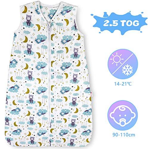 Licitn Saco de Dormir para Bebé - 2.5 TOG Saco de Dormir de Algodón Unisex para Bebés,Longitud Ajustable para Bebé (Azul, 18-36Meses(90-110cm))
