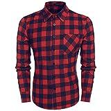 Coofandy Herren Hemd Langarm Kariert Freizeit Hemd Baumwolle Button-down (XL, A-Rot und Blau)