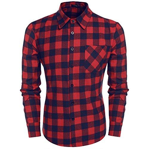 Burlady Herren Karohemd Kariert Hemd Slim Fit Trachtenhemd Super Modern Super Qualität Fürs Oktoberfest Geeignet (S, A-Rot und Blau)