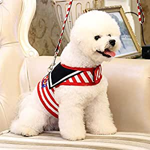 Pets Empire Navy Style Adjustable Soft Breathable Pet Cat Dog Harness Mesh Vest Harnesses for Leads Puppy Cat Collars Pets Chest Strap Leash (Puppy/Kitten)