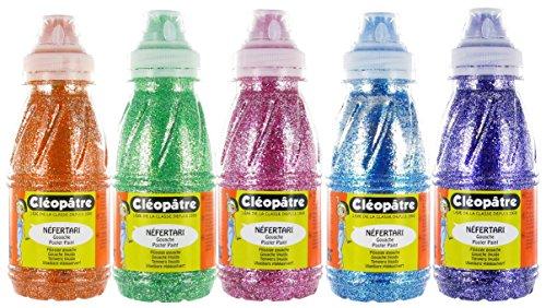 Cléopâtre - PP250x5A - Peinture Pailletée - Assortiment de couleurs (orange/vert/magenta/bleu/violet) - Flacon 250 ml