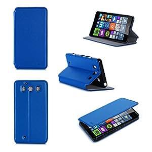 Etui luxe Microsoft Lumia 950 4G/LTE (ex Nokia) Dual Sim bleu Ultra Slim Cuir Style avec stand - Housse Folio Flip Cover coque de protection Microsoft 950 blanche bleue 5.2 pouces - Accessoire XEPTIO case