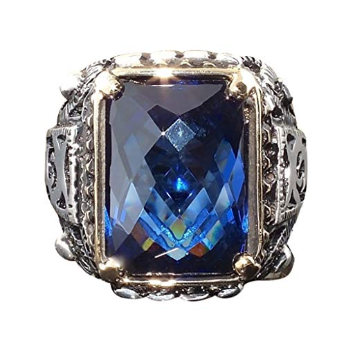 UINGKID Schmuck Damen Ring Mode-Retro- hohlen blauen geometrischen quadratischen Zirkon-Mannes