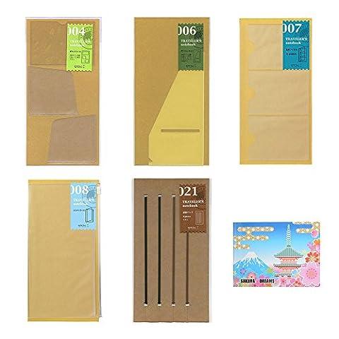 Midori Traveler's Notebook Regular Size , 5- Refill BUNDLE SET