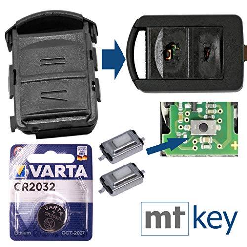 OPEL Repair - Kit di riparazione per chiave auto, alloggiamento con 2 tasti + batteria CR2032 per Opel Corsa C Meriva A Combo C Tigra B