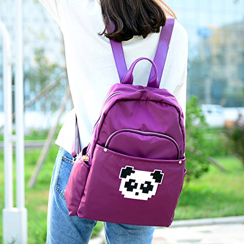Young & Ming - Colorato Large Unisex Doona Backpack Impermeabile Nylon Borse a zainetto Cute Decorazione di Panda sveglio per lavoro / tempo libero / scuola Viola