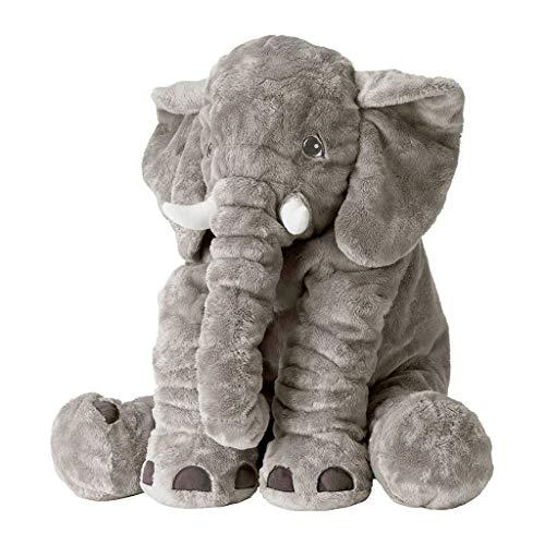 HEMFV Baby-Elefant-Kissen Neuheit Tier Plüsch Weiche Kinder Schlafkomfort Kissen Puppe Spielzeug 24 Zoll (60 CM), Regenbogen Einhorn Niedlichen Elefanten Plüschtiere Tiere Gefüllte Kissen Grauer Elefa - Elefant Grauer Baby Dekorationen