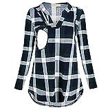 Cinnamou_mujer Blusas y Camisas premamá Lactancia en Cuello de V Ropa Maternidad Camisetas de Manga Largas Estampado a Cuadros Pullover Blusa Tops para Mujer Embarazada
