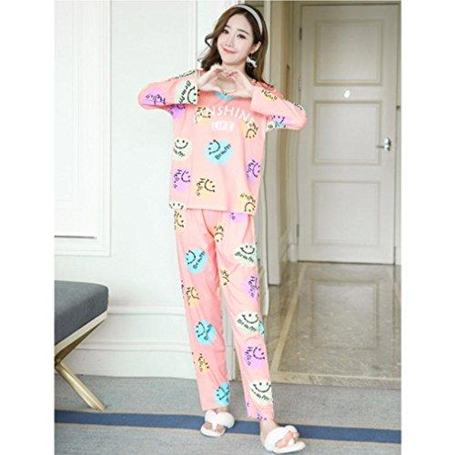 Moxin Baumwolle Pyjama-Sets Mode für Frauen Bettwäsche Mädchen Kleidung Schlafsack Pyjama Femme Lounge Home HERBST color smiley face XXL (Kleidung Mädchen Com)