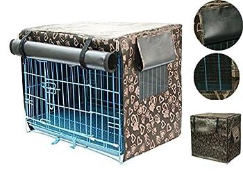 T Tocas(tm) Intérieur/Extérieur Couverture pliable étanche de Protection pour Cage de Chien/Chat/Oiseau/Hamster/Cochon d?Inde Housse de protection pour Caisse de transport pour animal domestique, Café ((XL( 92,5cm * 57cm* 68cm)) pour une cage de 36 pouces