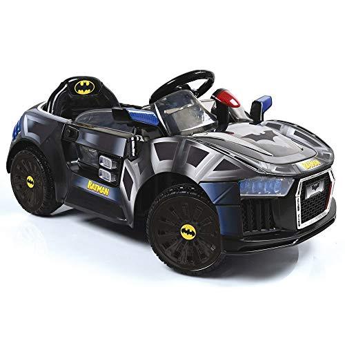 Hauck Toys Elektroauto 6V E Batmobil - elektrisches Auto für Kinder, mit LED, Gurt und Flügeltüren - Batman Schwarz
