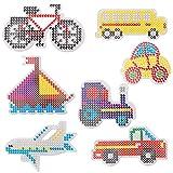 LIHAO Pegboard per Perline a Fusione, Accessorio per Perline da Stirare 5mm, Set di 7 Pezzi per il Tempo Libero Creativo-Veicolo (Autobus/Aereo/Barca/Bicicletta)