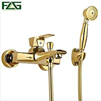 Aututer Wall Mounted Antique Brass Brushed Gold Plated Bathtub Faucet with Hand Shower Bathroom Bath Shower Faucets Torneiras