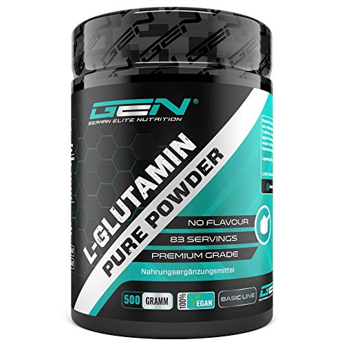 L-Glutamin Pulver - 500 g - Ultra hohe Reinheit ohne Zusätze - Laborgeprüft -100% micronized L-Glutamine Aminosäure - Unlflavoured Neutral - German Elite Nutrition