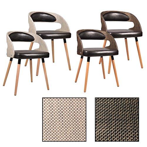 ESTEXO 2/4/6/8x Esszimmerstuhl Modell Ragna Farbe Hellbraun/Dunkelbraun, Esszimmerstühle, Rattan, Küchenstuhl, Essstühle, Stuhlgruppe (8 Stück, Dunkelbraun)